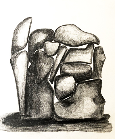 """Untitled Relation #15 , graphite on hot press Fabriano paper, 8"""" x 8"""""""