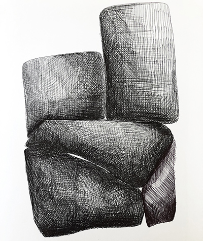 """Untitled Relation #16 , ballpoint pen on hot press Fabriano paper,  8"""" x 8"""""""