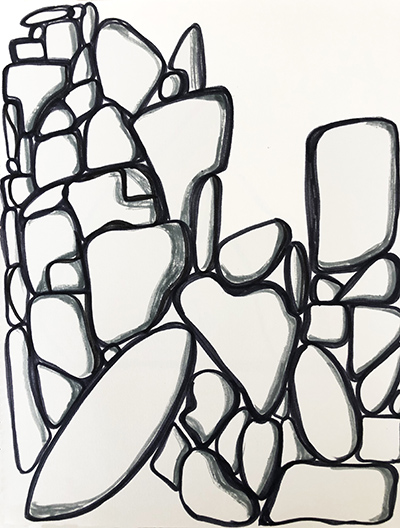 """Untitled Relation #18 , marker on hot press Fabriano paper, 9"""" x 12"""""""