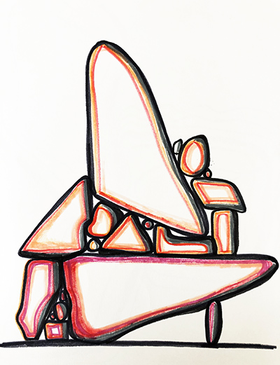 """Untitled Relation #19 , marker on hot press Fabriano paper, 9"""" x 12"""""""