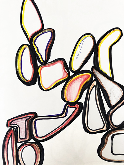 """Untitled Relation #20 , marker on hot press Fabriano paper, 9"""" x 12"""""""