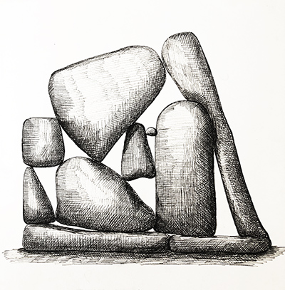 """Untitled Relation #17 , ballpoint pen on hot press Fabriano paper,  8"""" x 8"""""""