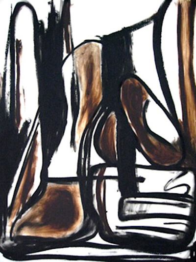 """Untitled Relation #1 , oil bar on hot press Fabriano paper, 22"""" x 28"""""""