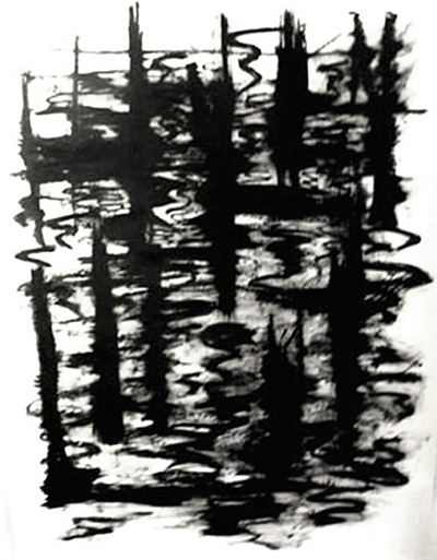 Reed Reflection , oil bar on hot press Fabriano paper, 4' x 10'