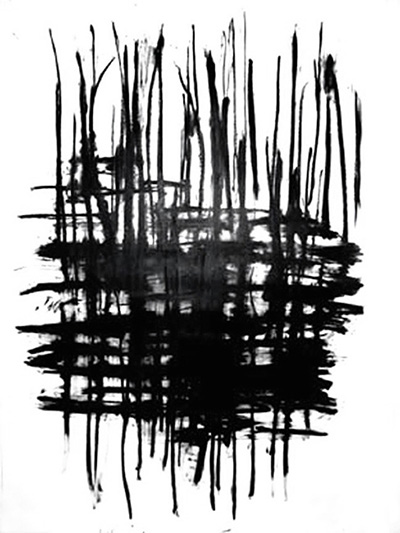 Rushes- Purgatory Road , oil bar on hot press Fabriano paper, 4' x 6'
