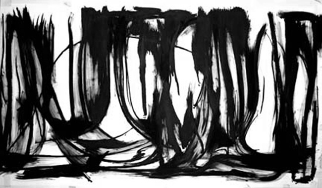 Tangles Grapevines- Purgatory Road , oil bar on hot press Fabriano paper, 4' x 10'