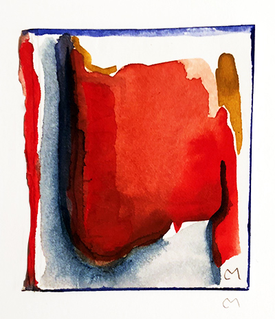 """French Hotel Room Painting 1    Watercolor on hot pressed Fabriano paper 2"""" x 2"""""""