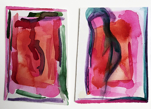 """French Hotel Room Painting Diptych 1    Watercolor on hot pressed Fabriano paper 4"""" x 6"""""""