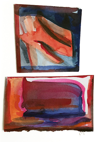 """French Hotel Room Painting Diptych 3    Watercolor on hot pressed Fabriano paper 6"""" x 6"""""""