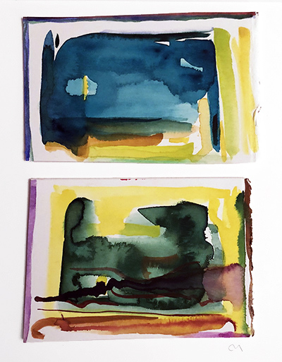 """French Hotel Room Painting Diptych 2    Watercolor on hot pressed Fabriano paper 4"""" x 6"""""""