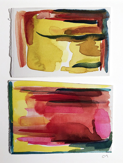 """French Hotel Room Painting Diptych 5    Watercolor on hot pressed Fabriano paper 6"""" x 6"""""""