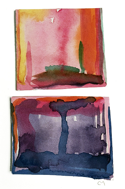 """French Hotel Room Painting Diptych 4    Watercolor on hot pressed Fabriano paper 2"""" x 6"""""""