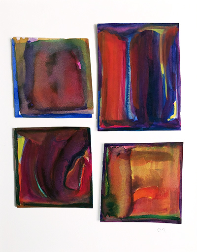 """French Hotel Room Painting Quadriptych 1    Watercolor on hot pressed Fabriano paper 6"""" x 6"""""""