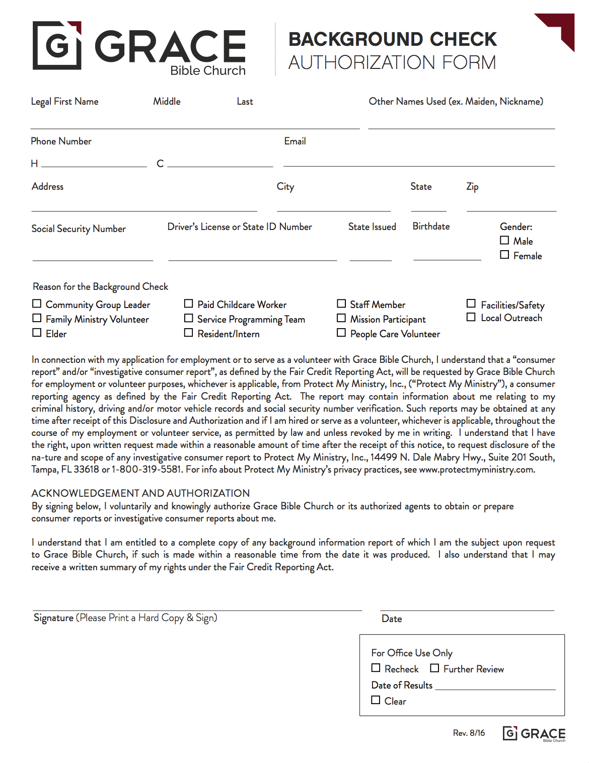 Background Check Form -
