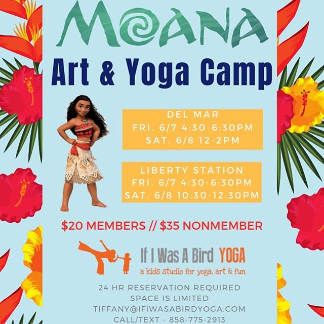 Join us Friday or Saturday for some Moana fun! www.ifiwasabirdyoga.com #ifiwasabirdyoga #whereeveryposeisachildspose #yogaforkids #mindfulnessforkids #artforkids #moana
