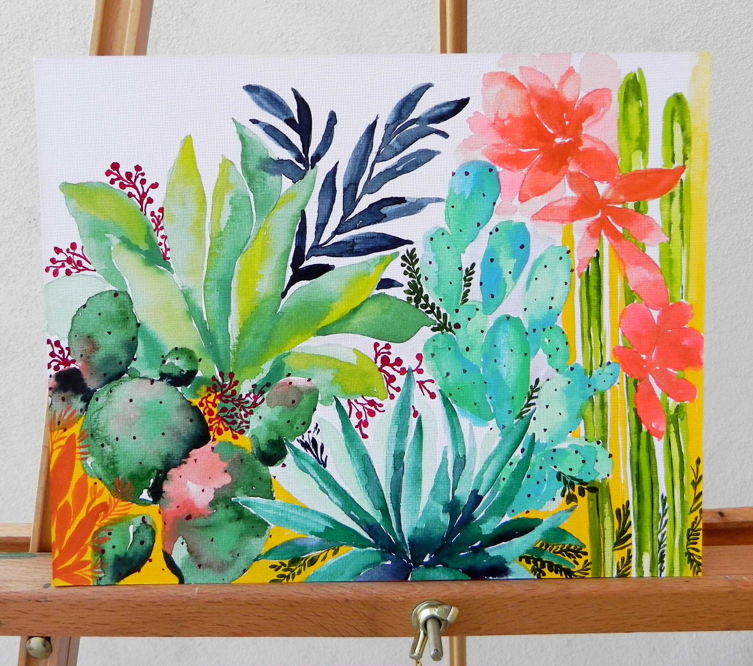 """Desert Jungle"" Watercolor on Art Board 8x10"" $215"