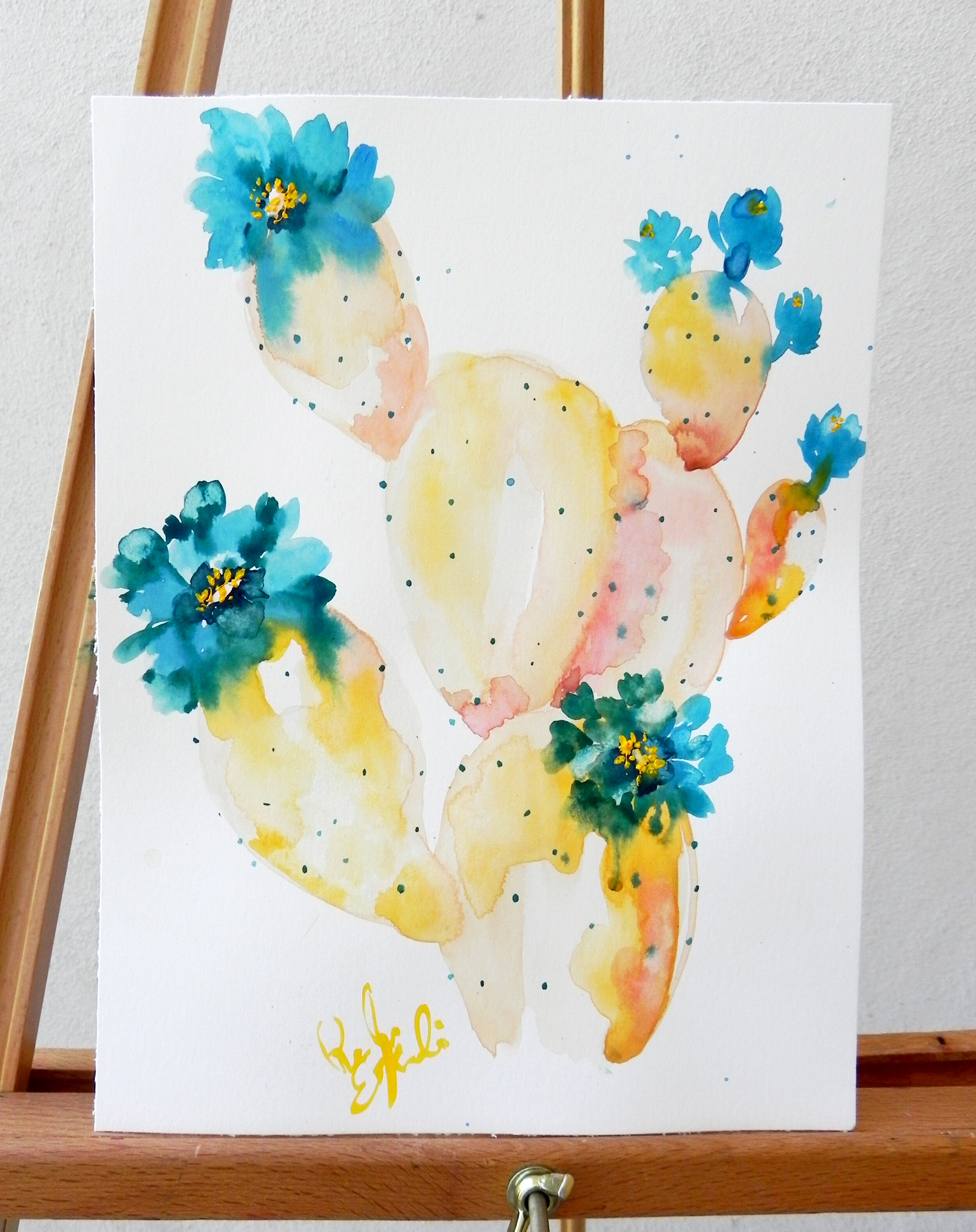 """Coral Prickly Pear Blue"" Watercolor on 140lb watercolor paper 8.25x11"" $215"