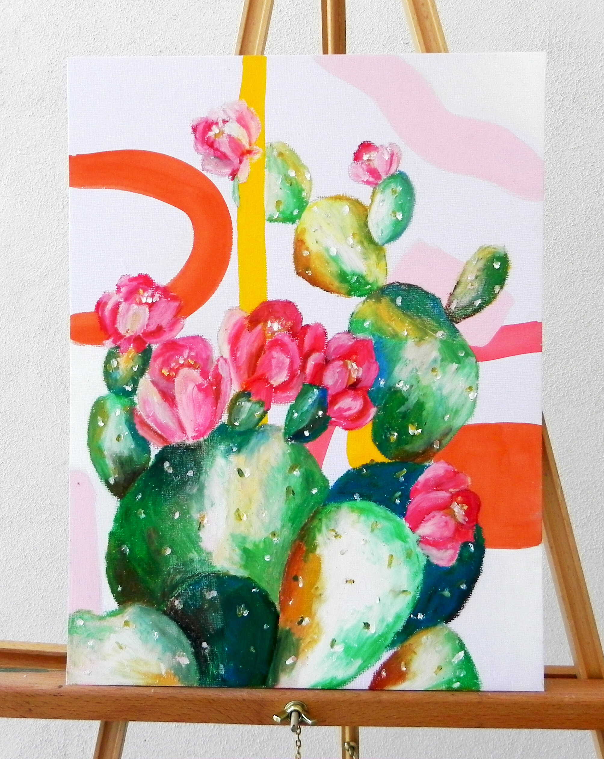 """Pink Prickly"" Gouache and Oil Pastel on 12x16"" Art Board $290"