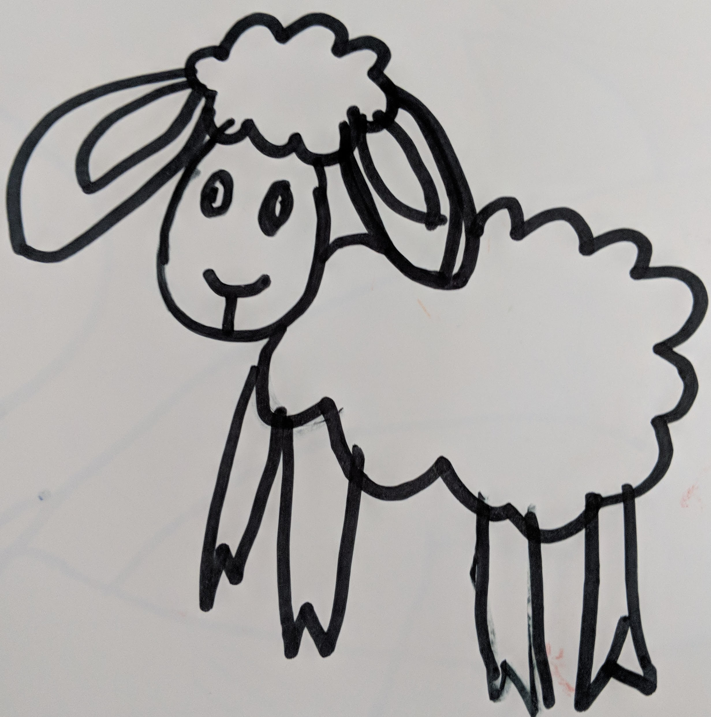 """- Case in point: here is a drawing a did for my daughter. I was very carefully following the instructions of a """"How to Draw"""" YouTube video (that I had to play multiple times).It is a sheep.It took me a really long time."""