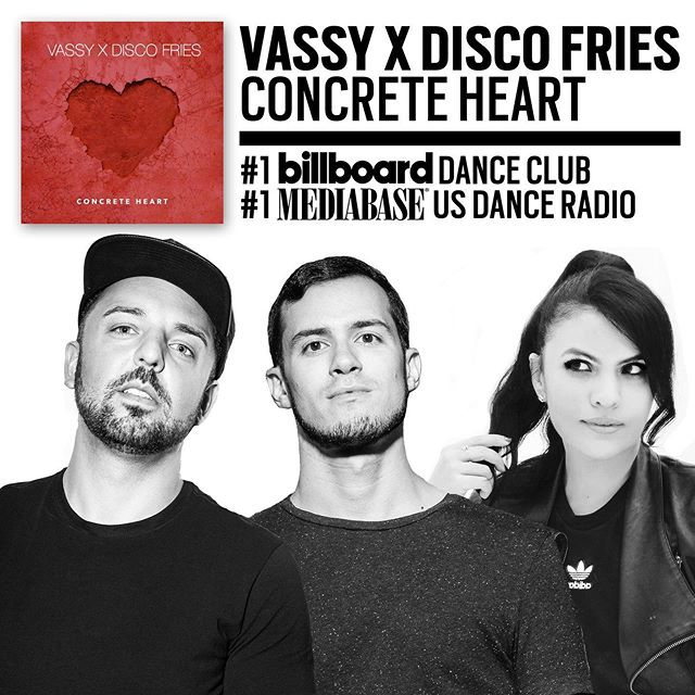 We did it fam 💯....número uno on @billboarddance club charts and US Dance Radio alongside our partner in crime @vassy! . Thank you to each and every DJ, PD,  curator, and fan who has showed love to #ConcreteHeart ❤️