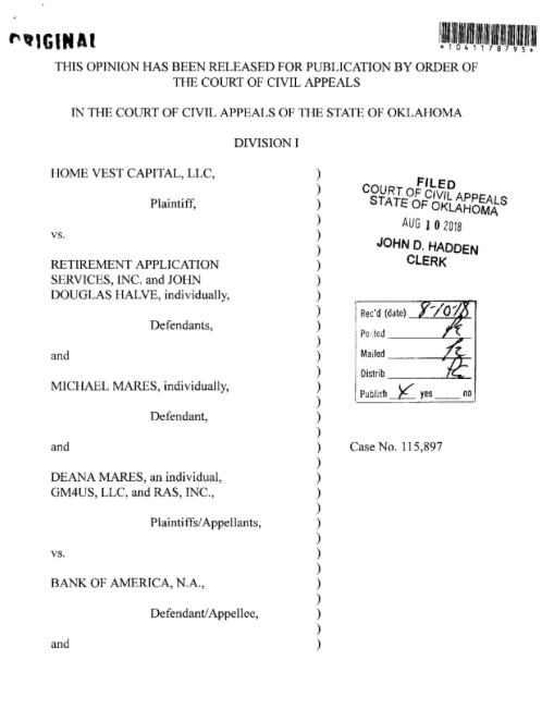 Bank of America Decision   [click to download]