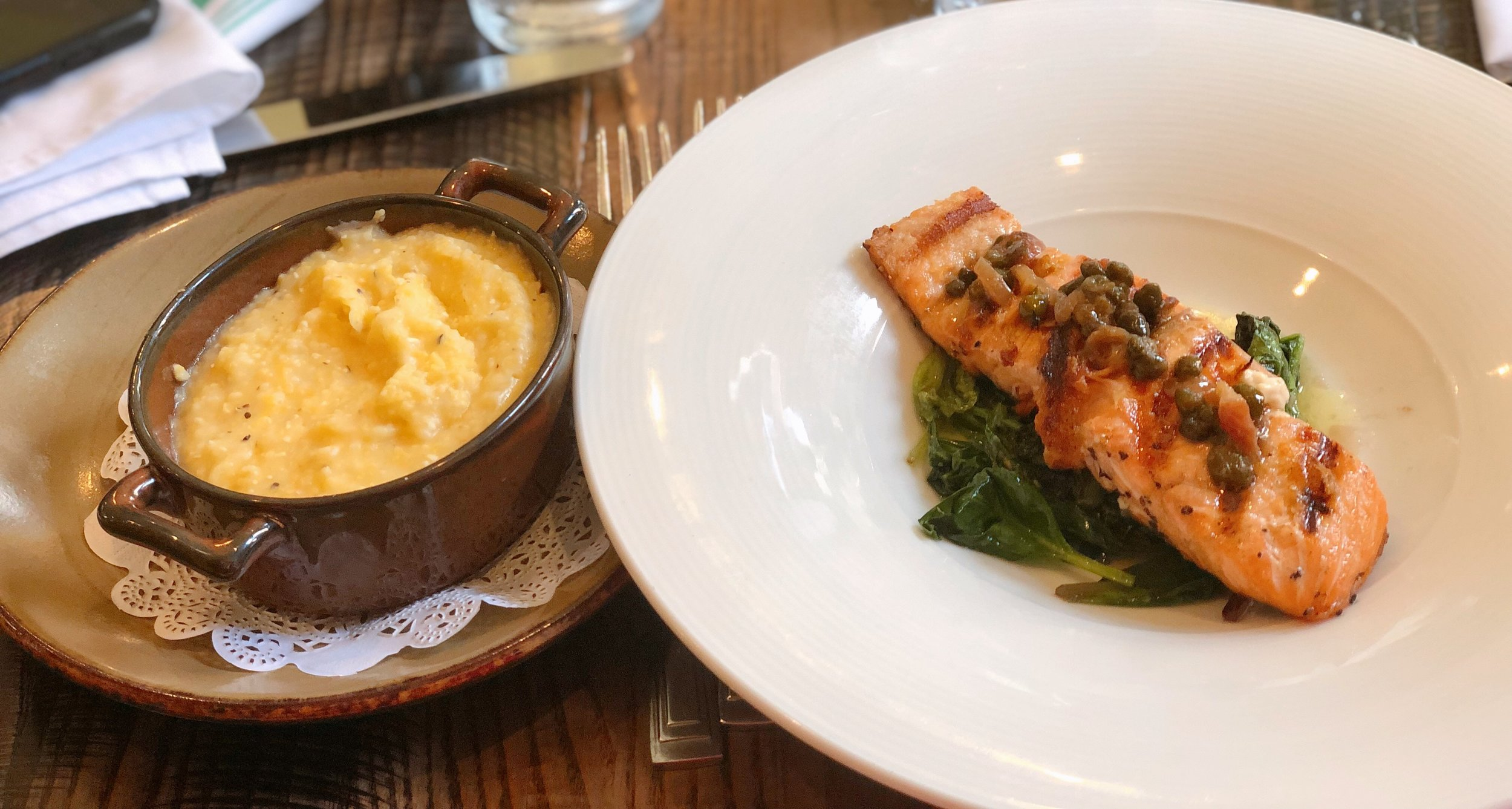 Salmon and Grits from Vyoone's Brunch Menu