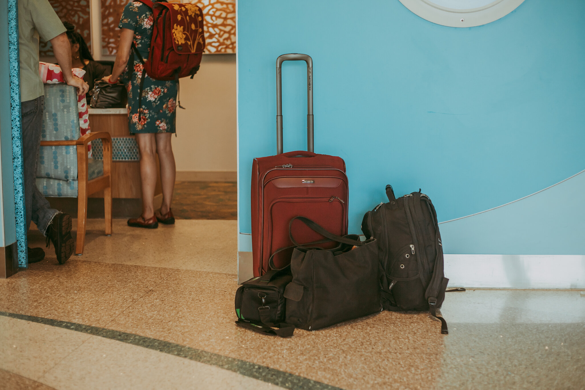 bags outside of registration door at hospital as parents check in for induction