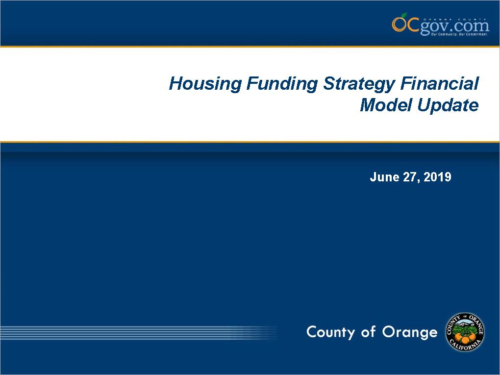 Housing Funding Strategy Update