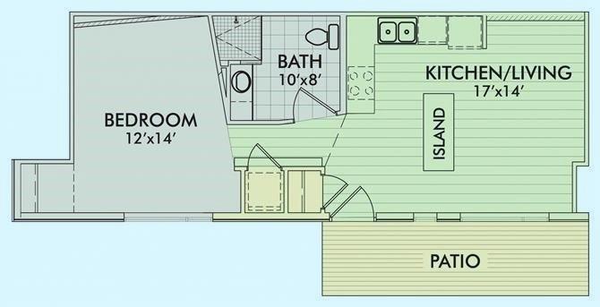 Doan -                                       1 Bed - 1 Bath |564 sq ft