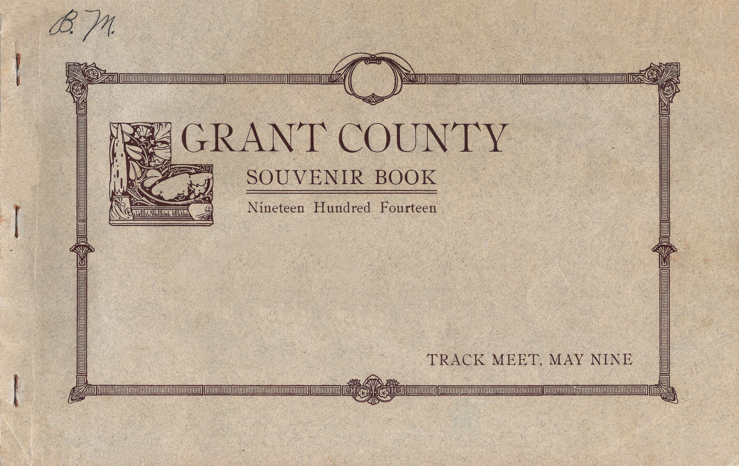 Front cover of 1914 Grant County Souvenir Book (Track Meet, .jpg