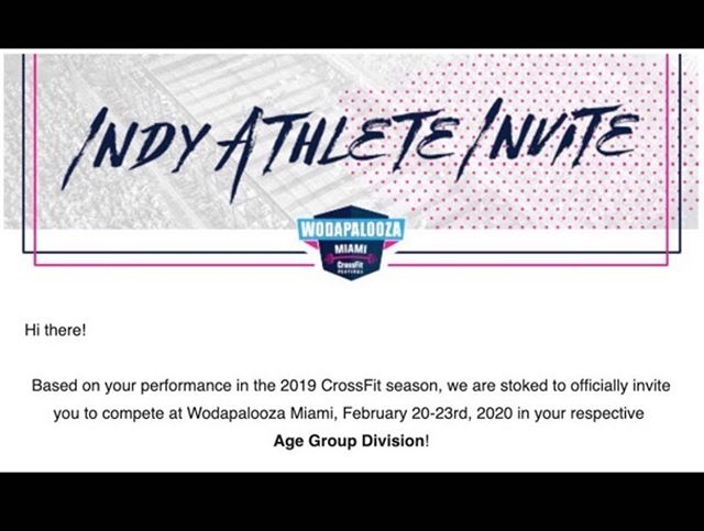Thank you @loudlivesports for the invite to compete at Wodapalooza in 2020!  I'll be ready!! See y'all in Miami!!