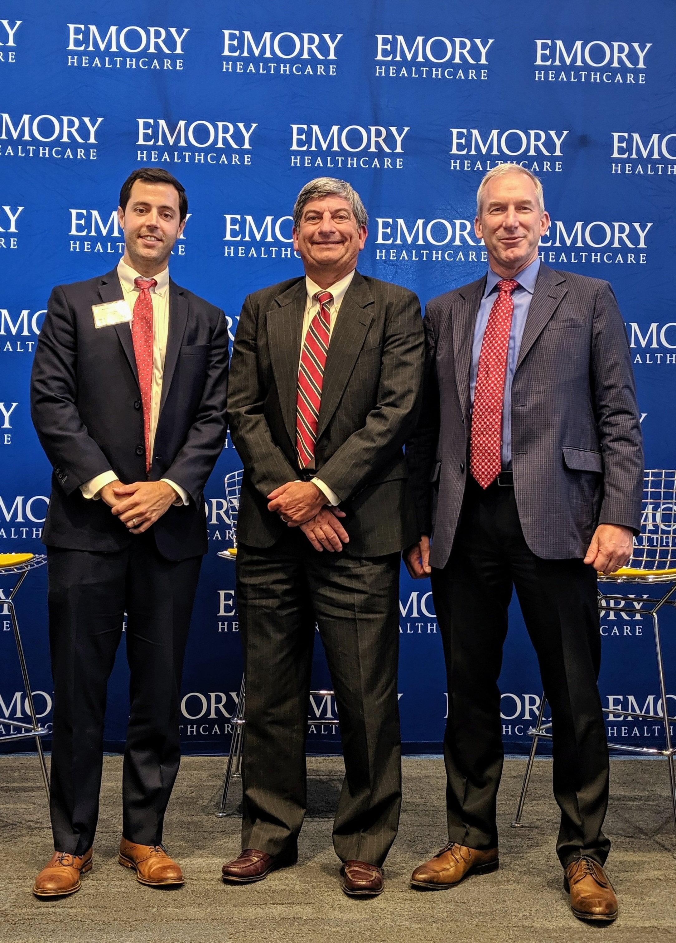 Pictured above from left to right: James Lewis, Co-Founder and CEO of 11|TEN Innovation Partners; Scott D. Boden, M.D., Vice President of Business Innovation, Emory Healthcare; David Widmann, President and CEO, Konica Minolta Healthcare Americas.