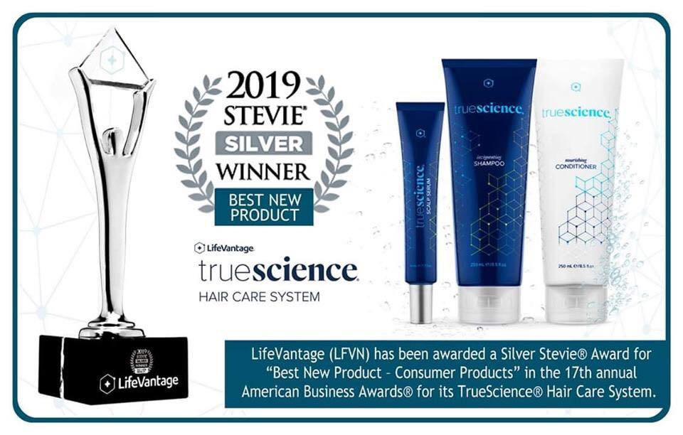 "We did it again!! Another Stevie awarded to our company!! Silver Stevie® Award for ""Best New Product – Consumer Products"" in the 17th annual American Business Awards® for our TrueScience® Hair Care System"