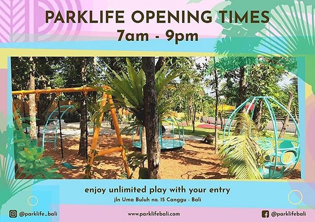 The countdown is on!!🌈 . As of June 30th, we will be open for play. Parklife will be open from 7am until 9pm serving breakfast, lunch and dinner! 🏝💙🎉 . . . . .  #balikids #baliwithkids #canggukids