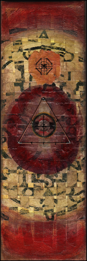 Conjuration of the Wise . 10cm x 30cm. 2014. Mixed media: stained paper, gouache, copper, thread, pressed poppy petals on stretched canvas.