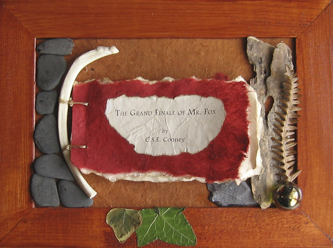 MAGICK 4 TERRI: THE FOXES.  The Grand Finale of Mr. Fox by C.S.E. Cooney. 5in x 7in. Fox bones, sinew, dried leaves, stones.