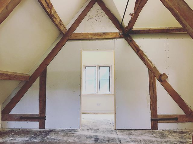 A quick progress update from a commercial client @grafton.manor - this loft space is being converted into a bedroom with en-suite bathroom whilst maintaining the beautiful character of the space - stay tuned for the finished article in the near future  #kaqti #building #renovation #remodel #ensuite #bedroom #uk #oakbeams #interiors #interiordecorating #worcesterbuilder #westmidlandsbuilder #home #hotel #summer