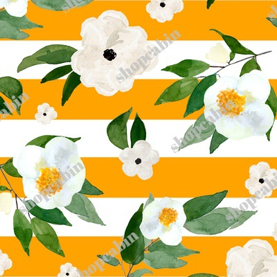 White Flowers Orange Stripes.jpg