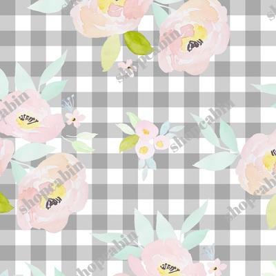 Pastel Blush Roses Grey Gingham.jpg