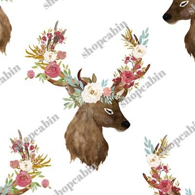 Autumn Floral Deer Print White.jpg
