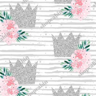 Princess Crown With Florals Grey Stripes.jpg