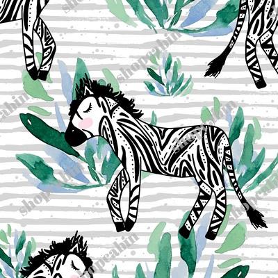 Zebras In The Wild With Plants Grey Stripes.jpg