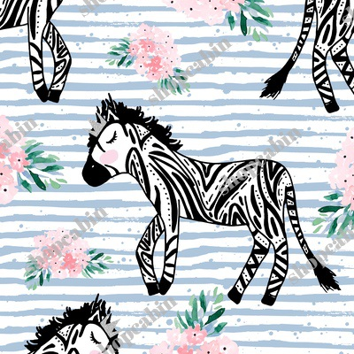 Zebras With Crown And Flowers Blue Stripes.jpg