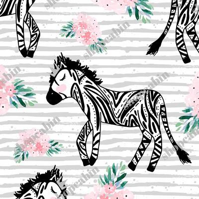 Zebras With Crown And Flowers Grey Stripes.jpg