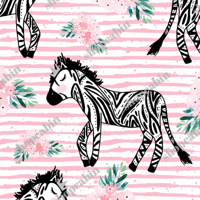 Zebras With Crown And Flowers Pink Stripes.jpg