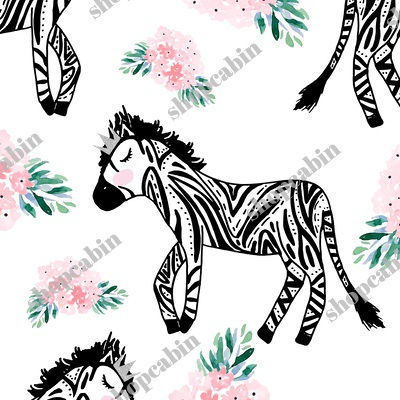 Zebras With Crown And Flowers White.jpg