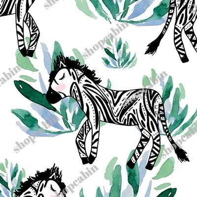 Zebras In The Wild With Plants White Back.jpg