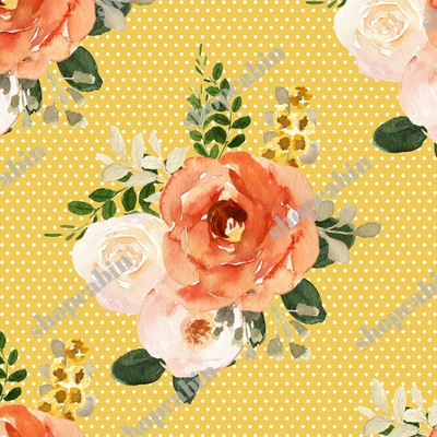 Parisian Autumn Bouquet White Polka Dots Yellow Back.jpg