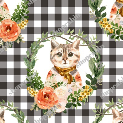 Miss Kitty Floral Wreath Brown Gingham.jpg