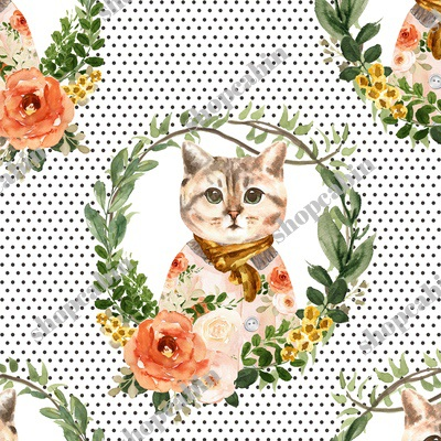 Miss Kitty Floral Wreath Brown Polka Dots.jpg